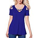 billige Trendy klokker-V-hals T-skjorte Dame - Ensfarget Ut på byen