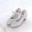 baratos Sapatos de Menina-Para Meninas Sapatos Sintéticos Primavera & Outono Sapatos para Daminhas de Honra Saltos Pedrarias para Infantil Dourado / Prateado / Rosa claro