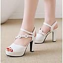 رخيصةأون صنادل نسائية-للمرأة أحذية PU ربيع مريح صنادل كعب متوسط أبيض / أسود / زهري