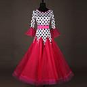 tanie Stroje balowe-Taniec balowy Sukienki Damskie Spektakl Spandeks Marszcząca się / Materiały łączone Rękaw 3/4 Sukienka