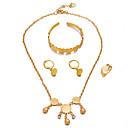 זול שרשרת אופנתית-בגדי ריקוד נשים פרנזים / מַטְבֵּעַ סט תכשיטים - פאר, בוהמי, מתוק לִכלוֹל צמידי חפתים / טבעות חישוקים / שרשראות תליון זהב עבור יום הולדת / מתנה / טבעת