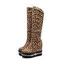 cheap Women's Boots-Women's Shoes Synthetics Fall & Winter Fashion Boots Boots Wedge Heel Round Toe Mid-Calf Boots Sparkling Glitter Black / Wine / Leopard