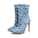 ieftine Tocuri de Damă-Pentru femei Pantofi Sintetice Primavara vara Balerini Basic Tocuri Toc Stilat Vârf ascuțit Albastru Închis / Albastru Deschis