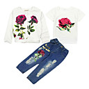 cheap Girls' Clothing Sets-Kids Girls' Floral Short Sleeve / Long Sleeve Clothing Set