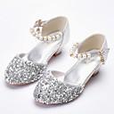 זול נעלי ילדות-בנות נעליים דמוי עור אביב קיץ נעליים לילדת הפרחים עקבים פנינים / נצנצים ל ילדים כסף / ורוד בהיר
