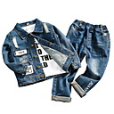 povoljno Jakne i kaputi za djevojčice-Djeca Djevojčice Osnovni Jednobojni Dugih rukava Pamuk Komplet odjeće