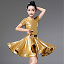 cheap Latin Dance Wear-Latin Dance Dresses Girls' Performance Spandex Ruching Short Sleeve Dress