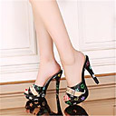 ieftine Tocuri de Damă-Pentru femei Pantofi PU Vară Balerini Basic Sandale Toc Stilat Pantofi vârf deschis Alb / Negru / Party & Seară