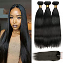 cheap Cycling Jerseys-3 Bundles with Closure Malaysian Hair Straight Human Hair Hair Weft with Closure 8-22 inch Natural Color Human Hair Weaves 4x4 Closure Best Quality / Hot Sale / Lace Closure Human Hair Extensions