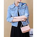 cheap Shoulder Bags-Women's Basic Denim Jacket - Floral Print, Embroidered
