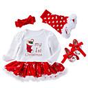 preiswerte Parykopfbedeckungen-Baby Mädchen Aktiv / Street Schick Weihnachten / Festtage / Ausgehen Druck Gitter Langarm Standard Standard Baumwolle Kleidungs Set Weiß
