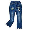 זול מכנסיים וטייץ לבנות-ג'ינס פרחוני בסיסי בנות ילדים