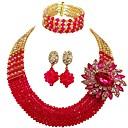 preiswerte Schmuckset-Damen Mehrschichtig Schmuck-Set - MOON Modisch Einschließen Stränge Halskette Rot / Grün / Intensives Rosa Für Hochzeit