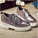 povoljno Ženske sandale-Žene Cipele Mekana koža Proljeće / Ljeto Udobne cipele Oksfordice Creepersice Zatvorena Toe Crn / Srebro
