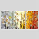 hesapli Çiçek/Botanik Resimleri-Hang-Boyalı Yağlıboya Resim El-Boyalı - Çiçek / Botanik Modern Iç çerçeve dahil / Üç Panelli / Gerilmiş kanvas