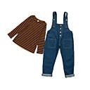 ieftine Pantaloni Fete & Leginși-Copii Fete De Bază / Șic Stradă Sport Dungi Imprimeu Manșon Lung Bumbac Set Îmbrăcăminte