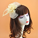 رخيصةأون مجوهرات الشعر-ريشة / صاف خوذة مع ريش / زهور 1PC زفاف / مناسبة خاصة خوذة