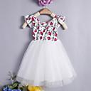 ieftine Pantaloni Fete & Leginși-Copii Fete De Bază Zilnic Floral Fără manșon Lungime Genunchi / Sub Genunchi Bumbac Rochie Alb 100
