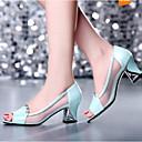 povoljno Ženske sandale-Žene Cipele Mekana koža Proljeće Udobne cipele Sandale Kockasta potpetica Obala / Plava / Zabava i večer