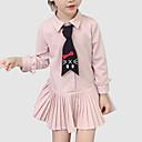 povoljno Haljine za djevojčice-Djeca Djevojčice slatko Dnevno / Izlasci Jednobojni Nabori Dugih rukava Poliester Haljina Blushing Pink 100