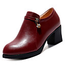 cheap Bag Sets-Women's PU(Polyurethane) Fall Fashion Boots Boots Chunky Heel Round Toe Booties / Ankle Boots Black / Wine