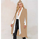 cheap Synthetic Capless Wigs-Women's Going out Trench Coat - Solid Colored