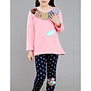 ieftine Pantaloni Fete & Leginși-Copii Fete De Bază Mată / Floral Manșon Lung Bumbac / Poliester Bluză Roz Îmbujorat