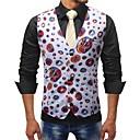 رخيصةأون سترات و بدلات الرجال-رجالي أبيض XXXL 4XL 5XL Vest قياس كبير أساسي فراشة طباعة / ألوان متناوبة نحيل / بدون كم