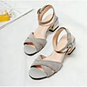 povoljno Ženske sandale-Žene Cipele Ovčja koža Ljeto Udobne cipele / Obične salonke Sandale Kockasta potpetica Crn / Sive boje