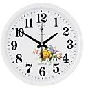 זול שעוני קיר מוטבעים בציורי קנבס-סגנון מודרני פלסטיק ומתכת עגול בבית,סוללות AA