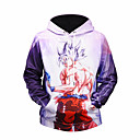cheap Anime Action Figures-Men's Sports Active / Basic Long Sleeve Hoodie - Floral / Geometric / 3D Black & Red, Print Hooded Lavender XL / Winter