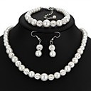 cheap Jewelry Sets-Women's Classic Retro Jewelry Set - Imitation Pearl, Rhinestone Ladies, Artistic, Romantic Include Drop Earrings Strand Bracelet Necklace White For Wedding Masquerade Engagement Party Prom Going out