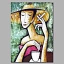 billige Personmalerier-Hang malte oljemaleri Håndmalte - Abstrakt / Mennesker Moderne Inkluder indre ramme / Stretched Canvas