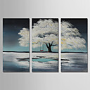 tanie Obrazy olejne-Hang-Malowane obraz olejny Ręcznie malowane - Krajobraz / Kwiatowy / Roślinny Nowoczesny Naciągnięte płótka / Trzy panele / Rozciągnięte płótno