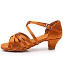 baratos Sapatos de Dança Latina-Para Meninas Sapatos de Dança Latina Cetim Sandália / Salto Presilha Salto Cubano Personalizável Sapatos de Dança Castanho Escuro