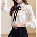 billige Mode Øreringe-Dame - Ensfarvet Blondér Basale Skjorte