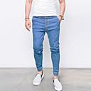 billige Veggklistremerker-Herre Bomull / Lin Jeans Bukser Ensfarget