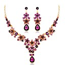 povoljno Komplet nakita-Žene Sapphire Viseće naušnice Izjava Ogrlice Long dame Jedinstven dizajn Umjetno drago kamenje Glina Naušnice Jewelry Crvena / Crvena / Plava Za Vjenčanje Večer stranka