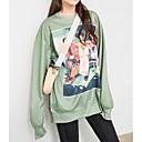 billige Hættetrøjer og sweatshirts til damer-Dame Bukser - Figurer Grøn En Størrelse
