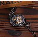 preiswerte Mechanische Uhren-Herrn Taschenuhr Automatikaufzug Schwarz Transparentes Ziffernblatt Armbanduhren für den Alltag Analog Luxus Freizeit Totenkopf - Schwarz