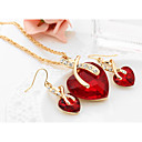 cheap Earrings-Women's Crystal Synthetic Diamond Jewelry Set - Crystal Heart, Love European, Elegant, Bridal Include Drop Earrings Pendant Necklace Red / Green / Blue For Wedding Party Gift