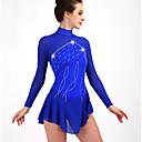 abordables Robe de Patinage-Robe de Patinage Artistique Femme Fille Patinage Robes Bleu royal Bleu Marine Dos ouvert Haute élasticité Entraînement Compétition Tenue de Patinage Classique Manches Longues Patinage sur glace