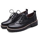 olcso Női szandálok-Női Cipő PU Tavasz / Nyár Kényelmes Félcipők Lapos Zárt orrú Fekete / Burgundi vörös