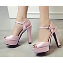 זול נעלי עקב לנשים-בגדי ריקוד נשים נעליים PU קיץ נוחות / בלרינה בייסיק סנדלים עקב עבה לבן / כחול / ורוד