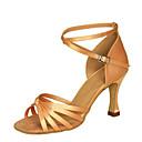 hesapli Latin Dans Ayakkabıları-Kadın's Dans Ayakkabıları Saten Latin Dans Ayakkabıları Sandaletler / Topuklular Kıvrımlı Topuk Kişiselleştirilmiş Siyah / Kahverengi / Çıplak / Performans / Egzersiz