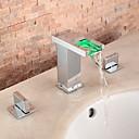 billige Baderomskraner-Baderom Sink Tappekran - Foss / LED Krom Udspredt To Håndtak tre hull