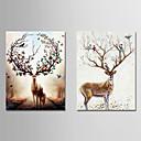 זול מדבקות קיר-דפוס הדפסי בד מתוחים - חיות נושא וינטג מודרני הדפסים אמנותיים