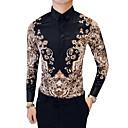 hesapli Erkek Gömlekleri-Erkek Pamuklu Gömlek Kabile Vintage Büyük Bedenler Siyah / Uzun Kollu