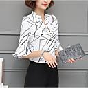 baratos Adesivos de Parede-Mulheres Camisa Social - Para Noite Moda de Rua Estampado, Geométrica Decote V Solto / Primavera / Verão