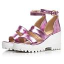 ieftine Sandale de Damă-Pentru femei Pantofi PU Vară Confortabili Sandale Toc Platformă Negru / Albastru / Roz